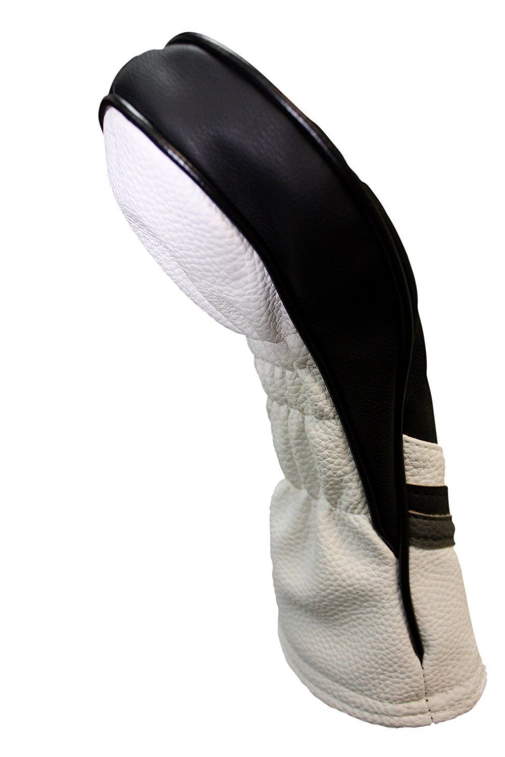 Majek Golf Headcover Black and White Leather Style #4 Hybrid Head Cover