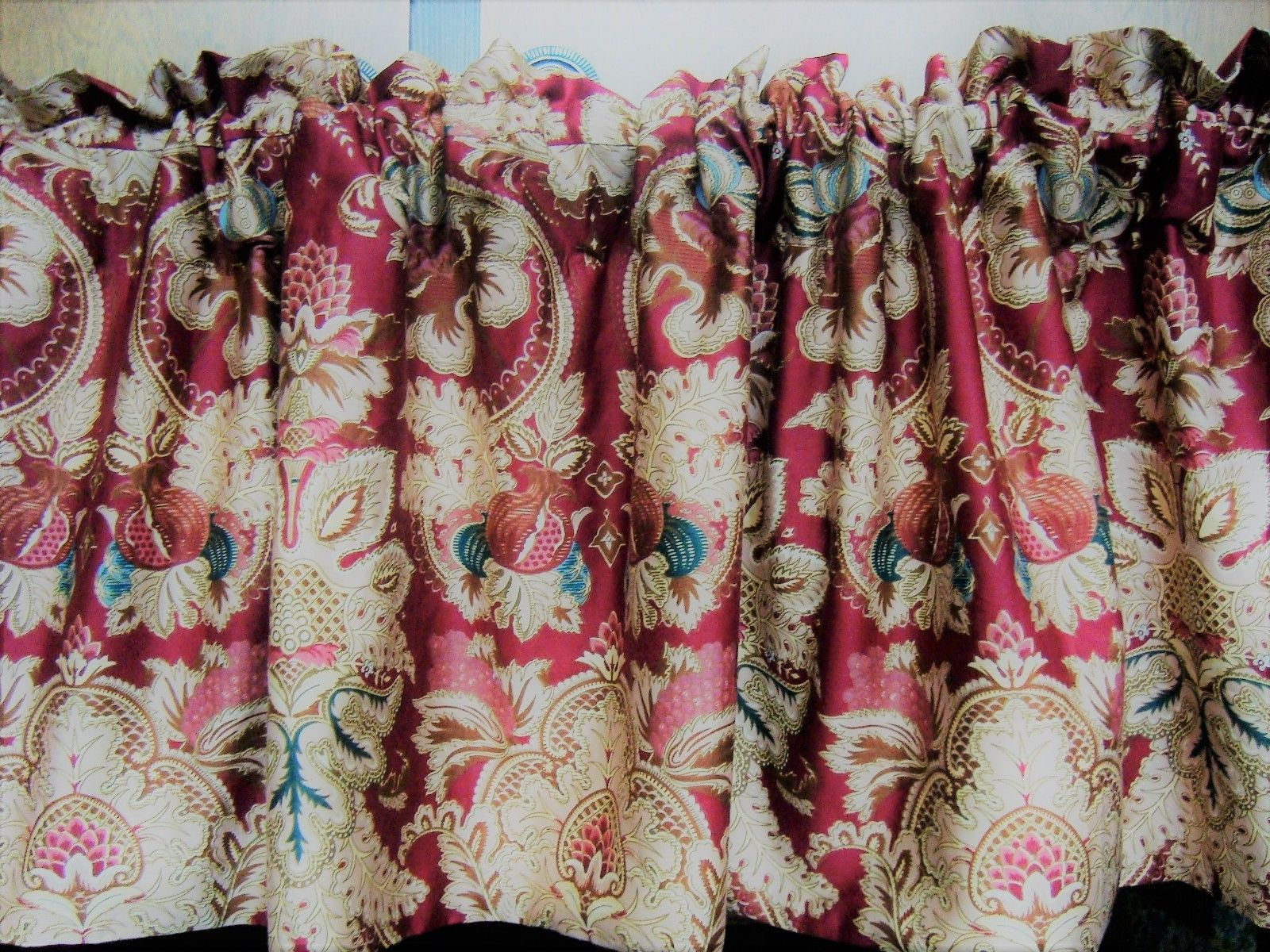 Primary image for Window Valance w New Ralph Lauren Fabric JARDINIERE FLORAL RED GOLD PAISLEY
