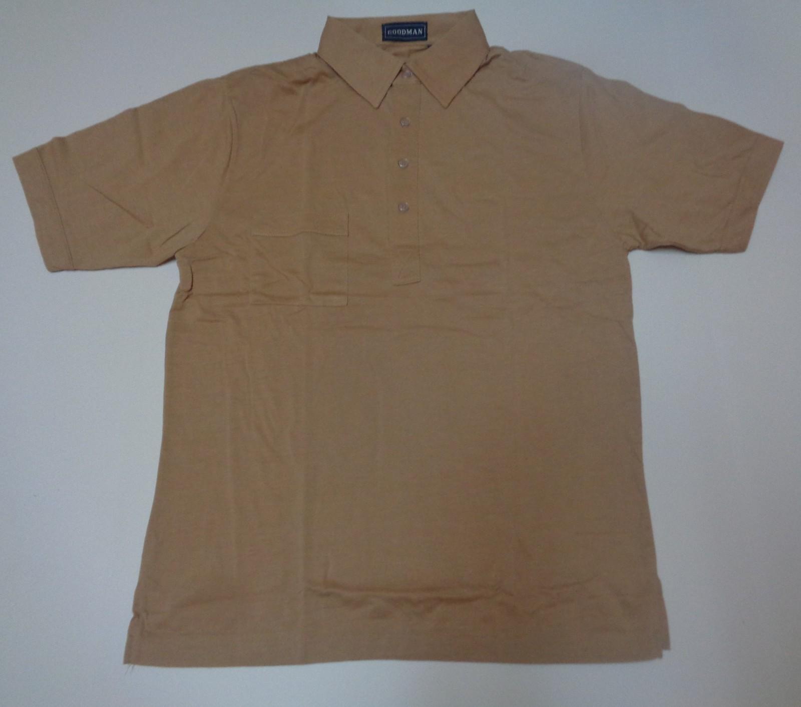 Men's Golf Work Dress Shirt NWT Khaki Beige Short Sleeve No Iron Size Med, Small