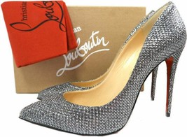 Christian Louboutin PIGALLE Follies Pumps 100 Glitter Metallic Silve Sho... - $499.99