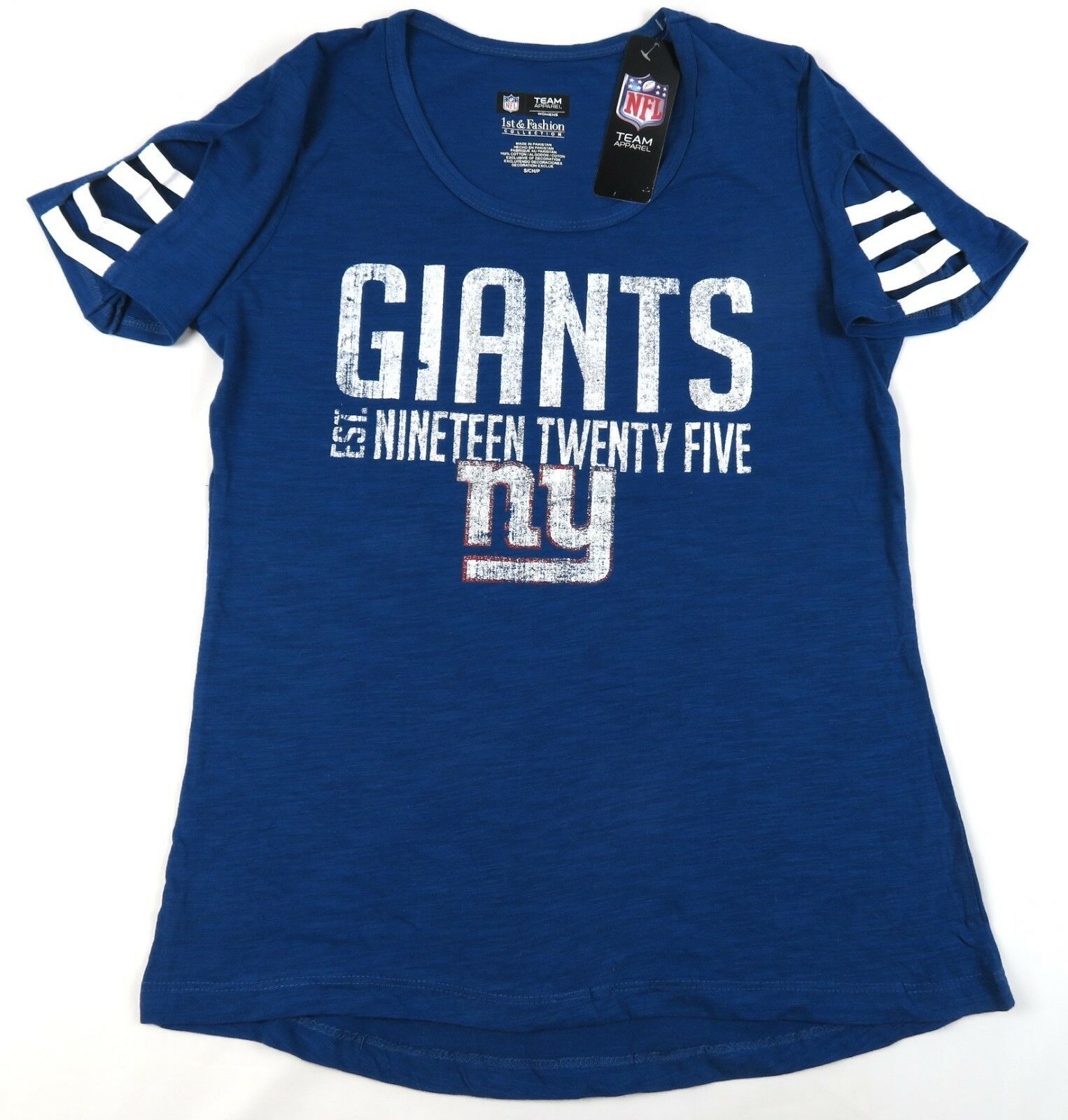 New York Giants Women's Tee Shirt NFL Vintage est. 1925 Cut-out Sleeves T-Shirt