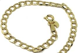 "9K GOLD GOURMETTE CUBAN CURB LINKS FLAT BRACELET 4mm, 19cm, 7.5"", BRIGHT image 1"