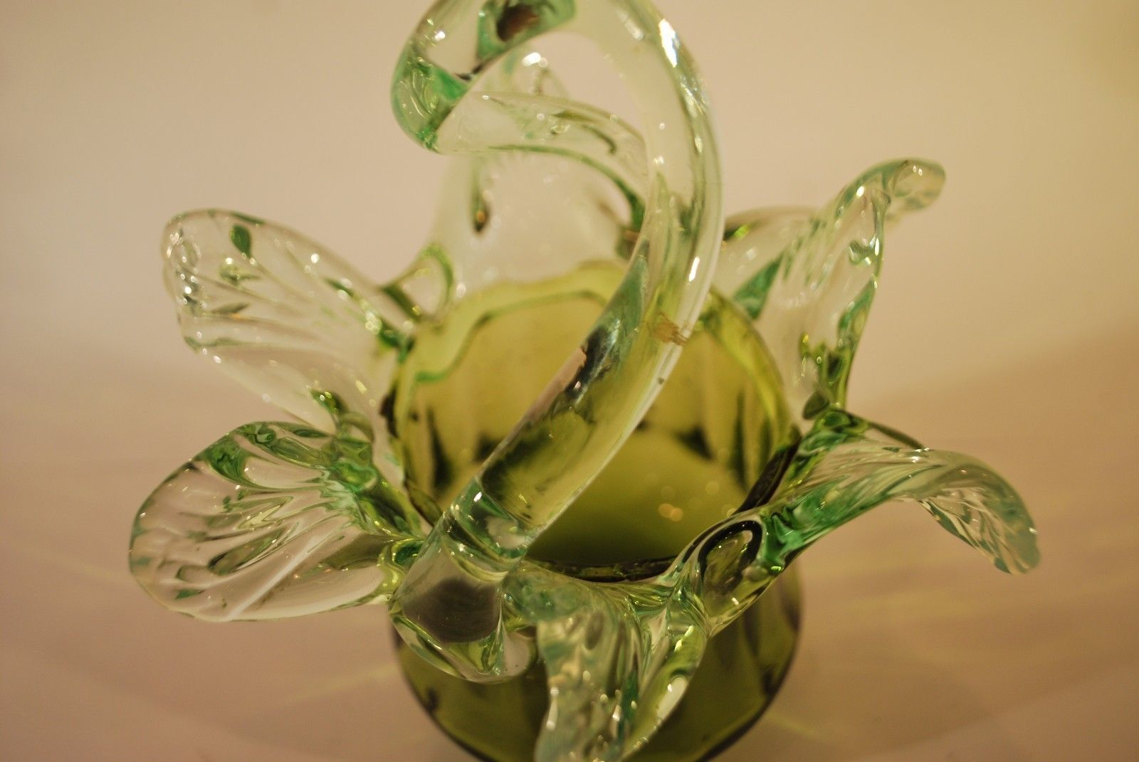 Victorian Green Glass Basket Vase with a Green Uranium Glass Frill       #6007