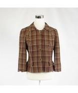 Brown orange houndstooth wool blend DAVID MEISTER 3/4 sleeve jacket 8 - $74.99