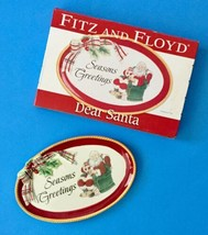 Fitz And Floyd Dear Santa Sentiment Tray Small Holiday Plate Seasons Gre... - $383,74 MXN