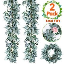 2 PCS Artificial Greenery Garland Total 12Ft Willow Leaf Garland Faux Silk Jungl image 11