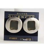 VINTAGE HAUTE COUTURE GIVENCHY WINDOW PANE CLIP EARRINGS ON CARD - $33.75