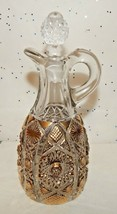 Vintage Cruet w/STOPPER~IMPERIAL Glass~Pressed~Daisy & Buttons~Gold Accents - $24.70