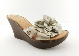 BORN Size 7 Metallic Flower Wedge Slide Sandals Shoes 38 Eur - $44.00