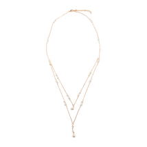 Layered Delicate Chain Pearl Necklace - $10.99