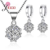 New Necklace Earrings Set 925 Sterling Silver Women Girls 2019 Fashion Earrings  - $16.53