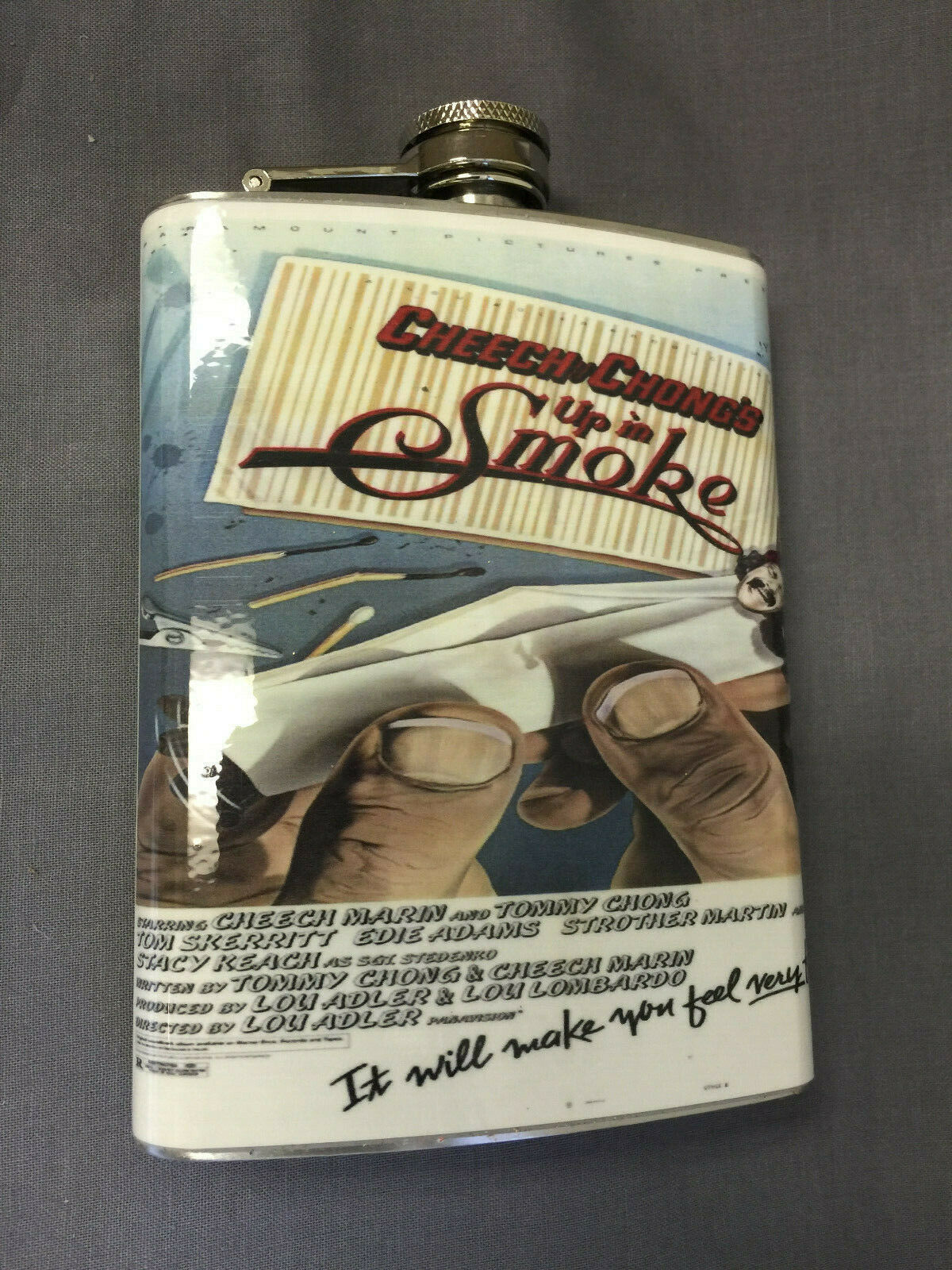 Cheech & Chong Smoke Flask 8oz Stainless Steel Drinking Whiskey Clearance item