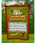 Lovely Vintage Poplar Linen An Irish Toast Whimsy Dish or Kitchen Towel ... - $14.00