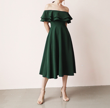 A Line Off Shoulder Tea Dress Wedding Bridesmaid Dress, Green Blush Burgundy image 1