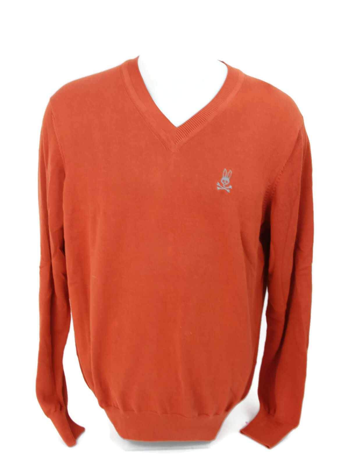 Primary image for Psycho Bunny By Robert Godley Men's Pima Cotton V-Neck Sweater Rust Orange Sz M