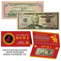 2020 Lunar Chinese New YEAR of the RAT Lucky US $50 Bill w/ Red Folder -... - $176.67