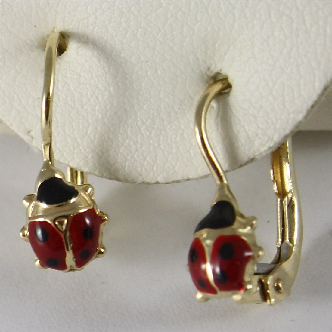 SOLID 18K YELLOW GOLD PENDANT EARRINGS LADYBIRD, FINELY ENAMELLED, MADE IN ITALY