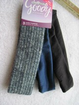 3 Goody Comfort Headwraps 2 Inch Wide Soft Fabric Head Bands Blue Black Fuzzy - $10.00