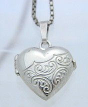 "VTG .925 Sterling Silver Embossed Heart Locket Chain Choker Necklace - 16"" - $39.60"