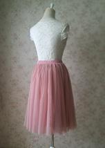 DUSTY PINK Tulle Midi Skirt Women High Waist Dusty Pink Tutu Midi Cocktail Skirt image 6