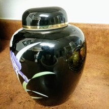 YAMAJI Fine China Made in Japan Black Ginger Jar w/ Lid Iris Floral Design and G image 2
