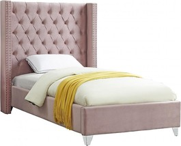 Meridian Furniture Aiden Pink Velvet Twin Size Platform Bed Contemporary