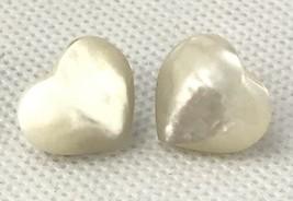 White Mother Of Pearl Shell Heart Shape Earriings Pierced Post Vintage V... - $28.71