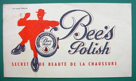 BEE'S Shoe Polish - c 1960 Ink Blotter Advertisement - $4.49