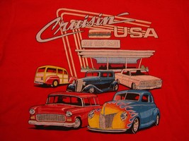 Vintage Cruisin' USA Hot Rod Cafe Red Cotton T Shirt Size S - $15.83