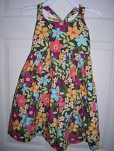 Gymboree Multi Colored Flowers Brown Dress Age 5 SZ 5 - $20.00