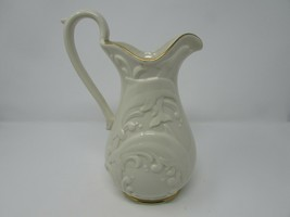 "LENOX BONE CHINA WAVESWEPT PITCHER 1994 MADE IN USA IVORY DOLPHINS 10""H ... - $49.45"