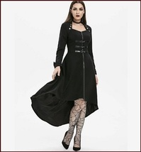 Retro Gothic Long Cuffed Sleeves 3 Bust Straps Zip Up Asymmetrical Hem Dress image 2
