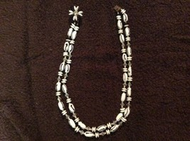 "Vintage Glass Beaded Black & White Necklace 18"" - $28.00"