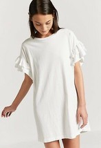 IRR Current Elliott T Shirt THE CARINA Dress Ruffles Sleeves White 100% ... - $14.99