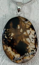 Shades of Brown & White Brecciated Jasper Pendant Necklace. Chain is Sil... - £18.81 GBP