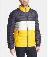 Tommy Hilfiger Men's Down Quilted Packable Logo Jacket Yellow Navy - $97.50