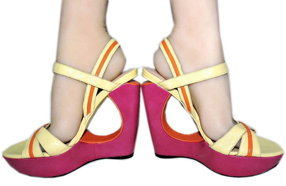 Stuart Weitzman Cut Out Pink Wedge Sandals Color Block Slingback Shoes 10 image 5