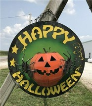 Metal Happy Halloween Sign, Halloween Decor Wall Hanging, Pumpkin Spider... - $130.00
