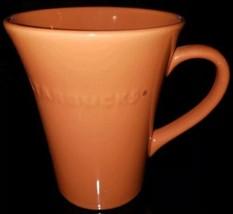 Starbucks 2011 Large 21.1 oz Solid Rust Dark Orange Embossed Logo Mug Fl... - $18.22