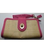 Coach Pink Leather Straw Clutch Wristlet - $33.25