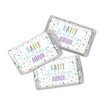 Colorful Confetti Birthday Personalized Miniatures Candy Bar Wrapper Labels - $13.37