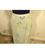 L M 12 14 Skirt Career Wome Churc Blu Floral Green Semi Sheer Formal Eve... - $13.87
