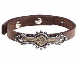 Portative Spectrostat Steampunk Brown Leather Strap Bracelet Alchemy Gothic A118 - $44.95