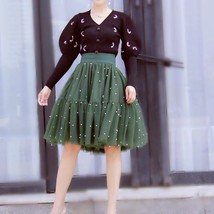 Army Green A-line Knee Length Tulle Skirt High Waisted Puffy Tutu Party Skirt image 1