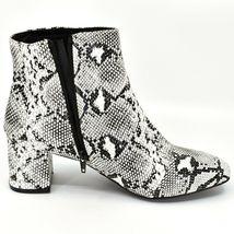 "Boohoo Faux Black & White Snakeskin Snake Skin Print 2.5"" Heel Boots Size 10 image 5"