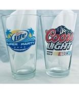 """Coors light  & Miller light  2 beer Pint Glasses / Shaker Pint 5 3/4"""" - $24.74"""