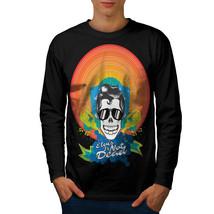 Elvis Skull Tee Crazy Men Long Sleeve T-shirt - $14.99