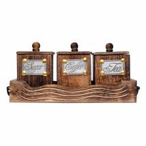 Handicraft Table Top Wooden Antique Look Tea Coffee Sugar 3 Container Ho... - $47.51