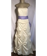 Forever Yours Yellow Brides Maid Pick Up Skirt Attached Sash Formal Dress 4 - $28.88