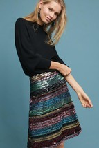 NWT ANTHROPOLOGIE SEQUINED SOIREE STRIPED SKIRT by MOULINETTE SOEURS  - $101.99